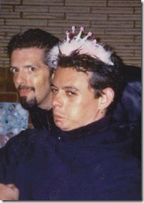 Silly John (& Dave) wearing Patti's pink tiara at Patti's birthday dinner, Sept 14, 2003